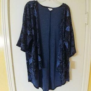 NWT LuLaRoe Blue & Black Lindsay Kimono S 0-8